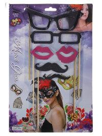 Набор для фотосесси: очки, губы, усы, 6 предметов