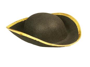 Шляпа пирата фетровая с золотым кантом