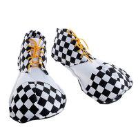 Ботинки клоуна прикол, черные с белым
