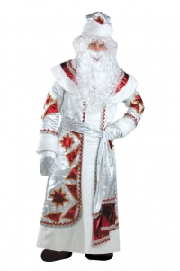 Костюм Дед Мороз серебряно-красный Б-161