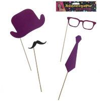 Аксессуары для фотосессии - шляпа, галстук, очки, усы, фиолетовый