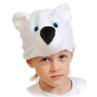 Карнавальная шапочка Мишка белый 4009