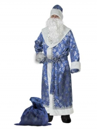 Костюм Дед Мороз сатин синий Б-188-1