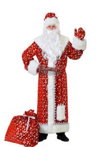 Костюм Дед Мороз плюш, красный Б-184