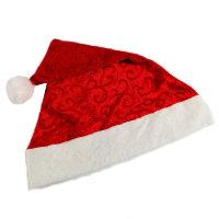 Новогодний колпак Деда Мороза красный, велюр