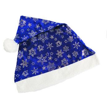 Новогодний колпак Деда Мороза  синий, велюр