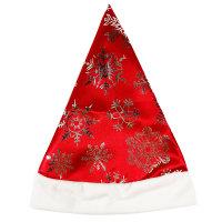 Новогодний колпак Деда Мороза снежинки, красный сатин