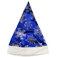 Новогодний колпак Деда Мороза снежинки, синий сатин
