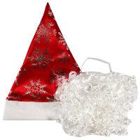 Новогодний колпак Деда Мороза с бородой, красный сатин
