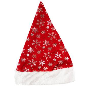 Новогодний колпак Деда Мороза снежинки, красный плюш