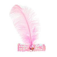 Повязка на голову розовая с пером