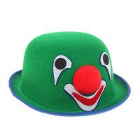 Шапка - котелок клоунская из фетра зеленая