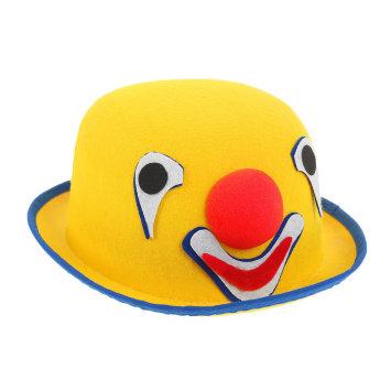 Шапка - котелок клоунская из фетра желтая